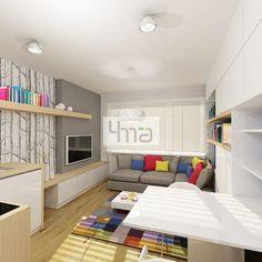 Projekt koncepcyjny kawalerki około 20m2  - http://4ma-projekt.pl Mieszkanie, kawalerka, biuro, przestrzeń biurowa, wnętrze.