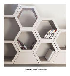 Ajudam a organizar e a embelezar qualquer ambiente!  Cool shelving idea.   Set Of 3. Honeycomb bookcase. Recyclable Cardboard by FormMaker, $250.00