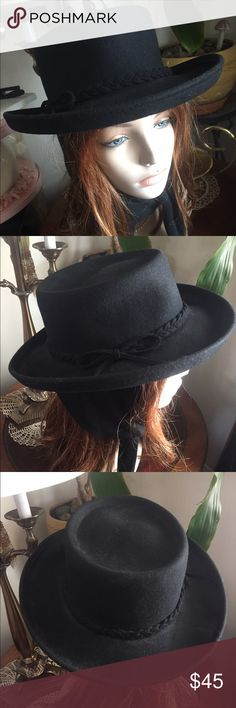"Vintage Black Wool Tie Hat ~ AUGUST Beautiful molded Black western-style hat with ear covers/ties by AUGUST. Awesome braided wool band and side bow. Inside circumference 22""; crown height 4""; brim 2-1/2"". In excellent preowned vintage condition. Smoke free home. Vintage Accessories Hats"
