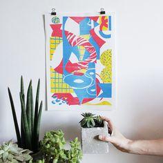 Affiche en risographie Pyjama Superman 50 exemplaires numérotés et signés au crayon    3 couleurs / encres à base deau  Munken Lynx Rough 170 gr https://www.etsy.com/fr/listing/211684953