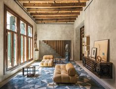 Exposed concrete walls inspiration ideas Bedroom Designs Modern Rustic Living Room With Concrete Walls Wood Windows Trims Wood Stairs Railings Exposed Wood Desire To Inspire Homesfeed Perform Highend Concrete Finish With Bit Rustic To Your Home With Modern Interior Design, Interior Design Living Room, Interior Design Inspiration, Interior Architecture, Living Room Designs, Bedroom Designs, Daily Inspiration, Living Rooms, Design Ideas