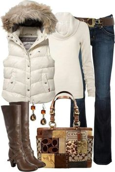 White vest, white turtle neck, navy pants or jeans, brown boots,