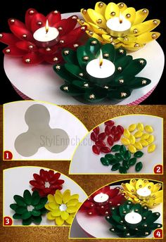 Diwali Diya Decoration From Plastic Spoons Have you ever tried plastic spoon crafts for home decoration? In this article we will show you how to make diwali diya decoration from plastic spoons. Diya Decoration Ideas, Diwali Decorations At Home, Diy Party Decorations, Festival Decorations, Christmas Candle Holders, Diy Candle Holders, Diy Candles, Plastic Spoon Crafts, Plastic Spoons