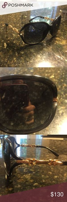 Jimmy Choo sunglasses Jimmy Choo sunglasses with gold and gem designs. Good condition with no scratches or damage! Jimmy Choo Accessories Sunglasses