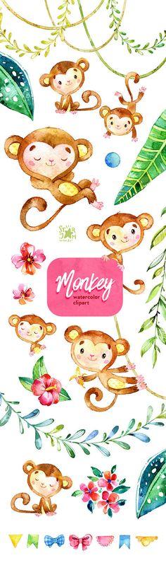 Monkey. Watercolor animals clipart jungle от StarJamforKids