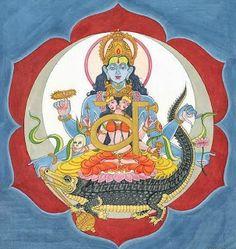 """"""" il makara è una creatura mitica della mitologia indiana. La tradizione lo descrive come una creatura acquatica, a volte identificato con il coccodrillo, a volte col delfino. In alcune raffigurazioni ha un corpo di pesce e la testa di elefante. In altre risulta essere un drago con la proboscide. Rappresenta l'acqua, fonte di vita e di fertilità.accompagna molto spesso la dea celeste Ganga, che incarna il fiume Gange ."""""""