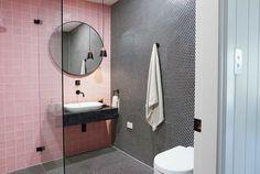 Three Birds Renovations - The River Shack https://www.caroma.com.au/bathrooms/bathroom-accessories/liano-nexus/liano-nexus-single-towel-rail https://www.caroma.com.au/bathrooms/basins/contura #bathroomreno #bathroomideas #design #bathroominspo #blackandgold #caroma #blush #blushtiles #blackandblush