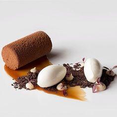 Chocolate mousse, sweet cream gelato, hazelnut, caramel, and amaranth by @acquerellosf #TheArtOfPlating