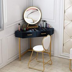 Jdeepued Dressing Table Iron L-Shaped Corner Vanity Table Set with Lighted Mirror & Bow Cushioned Stool,Makeup Dressing Table with 2 Drawers for Bedroom 3 Colors for Girl Bedroom Furniture Corner Vanity Table, Corner Dressing Table, Dressing Table Storage, Makeup Dressing Table, L Shaped Dressing Table, Dressing Tables, Girls Bedroom Colors, Girls Bedroom Furniture, Home Decor Bedroom