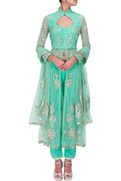 Sea green sequins embroidered anarkali kurta set BY SHEHLA KHAN. Shop now at perniaspopupshop.com