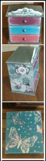 Ahşap boyama çekmeceli kutu #pirinç dekopaj #pasta rölyef #stencil #Eskitme #kitap kutu