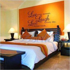 bedroom decor, wall quote - live, laugh,   love