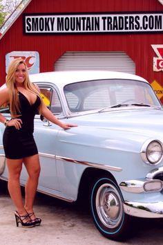 Stuck on an Escalator Rat Rod Girls, Car Girls, Pin Up Girls, Sexy Cars, Hot Cars, Car And Girl Wallpaper, Truck Roof Rack, Pin Up Car, Chevy Girl
