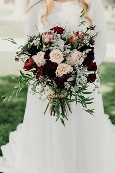 Bridal Bouquet for a early September wedding (flowers include: proteas, roses, a. Bridal Bouquet f Burgundy Wedding Flowers, Modern Wedding Flowers, Winter Wedding Flowers, Bridal Flowers, Floral Wedding, Wedding Colors, Trendy Wedding, Fall Flowers, Burgundy Bouquet