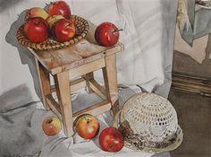 Zátiší s jablky, kloboukem a zrcadlem