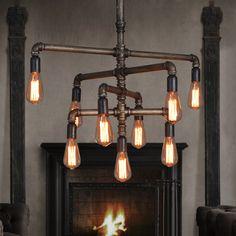 Rétro des conduites d'eau industriels lustre creative design pendentif lampes industrielle accrocher lampes appliquée à Café Bar et Restaurant