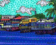 Original Lahaina Maui Painting by Heather Galler - Hawaii Hawaiian Folk Art Island Whale Town Ocean