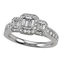 0.75 ct.t.w. Baguette and Round Cut Diamond Bridal Ring in 14k White Gold (I, I1) - Size 7.5