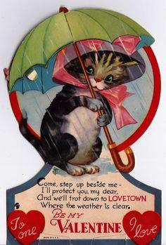 Vintage RARE 1943 Consertina Cat In The Rain Greetings Card (B7)