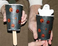 Paper Cup Peek-a-boo Ghost - what a cute idea! #kidscrafts #Halloween (repinned by Super Simple Songs) http://www.allkidsnetwork.com/crafts/halloween/peek-a-boo-ghost.asp