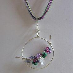 Sterling Silver Gemstone Necklace-necklace, sterling, silver, iolite, malachite, quartz, Swarovski, crystal, amethyst