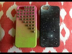DIY ombre/studded & galaxy phone case
