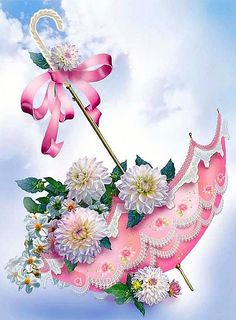 Umbrella & Flowers Diamond Painting – What's Hot On Top Floral Umbrellas, Decoupage Vintage, Wall Stickers Murals, Morning Greeting, Cross Paintings, Smileys, Animes Wallpapers, Morning Images, Ribbon Embroidery