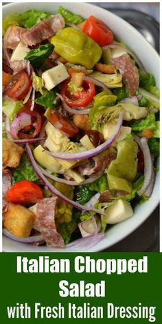 You are going to love all the fresh flavor packed in this super nutritious Italian Chopped Salad with Fresh Italian Dressing. It is perfect by itself or served with a small bowl of pasta, bowl of soup or flatbread pizza. Italian Chopped Salad, Italian Salad Recipes, Chopped Salad Recipes, Salad Dressing Recipes, Chopped Salads, Salad Dressings, Italian Bread Salad, Italian Foods, Italian Desserts