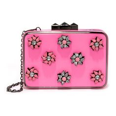 Girly Glam Pink Rhinestone Clutch ($66) ❤ liked on Polyvore featuring bags, handbags, clutches, studded clutches, pink clutches, evening handbags, rhinestone purses and rhinestone clutches