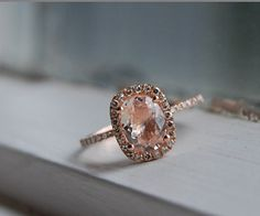 Sapphire for engagement rings (orange, peach, rose/beige, padparadscha, etc) :  wedding beige engagement gold padparadscha peach ring rose sapphires white Oval Halo Peach Sapphire Rose Gold Micropave Ring
