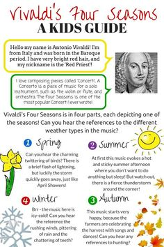 Vivaldi's Four Seasons – A Kids Guide Music Lessons For Kids, Music Lesson Plans, Music For Kids, Piano Lessons, Preschool Music, Music Activities, Music Education Games, Compositor Musical, Middle School Music