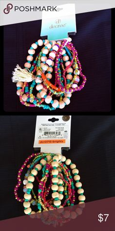 Adorable Bracelet Bundle Unique Beaded Bracelet Bundle offers a pleasing variety of colors. These stretchy Bracelets are the Perfect Accessory for any outfit! Mix and match or wear them all together! Help give these NEW Beautiful Bracelets a home!  Decree Jewelry Bracelets
