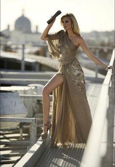 Greek goddess in gold...