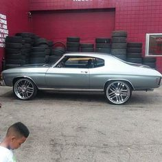 #BecauseSS  71 chevelle grey black with asanti multi spoke wheels