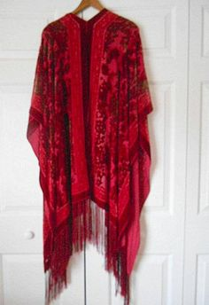 Vintage cranberry colored long fringed burn out Shawl