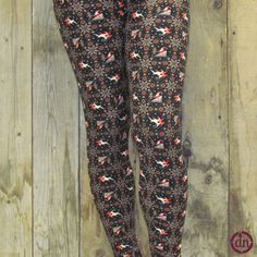 These leggings are sure to delight your friends and family when you wear them to your next holiday party. Bring your favorite holiday classic, and act out your favorite part of the story in these radically awesome reindeer leggings, complete with old Saint Nick!