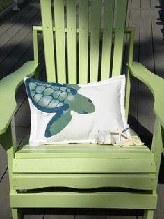 Green sea turtle 15x20 lumbar pillow ocean beach