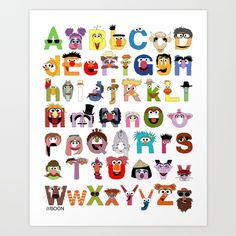 Sesame Street Alphabet Art Print by Mike Boon. Worldwide shipping available at Society6.com. Just one of millions of high quality products available.
