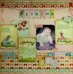 Baby Girl page created by Rosemary with Carta Bella Baby Mine collection for My Scrappin' Shop.