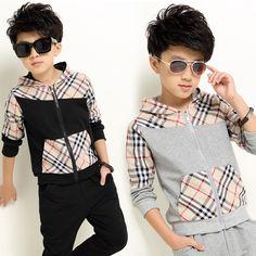 e08c27a3 Купить товар 2015 зимние детская одежда мальчиков с капюшоном комплектов  одежды бренда плед карман детей спортивный