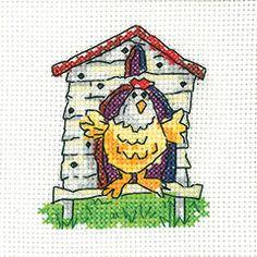 Hen House Card Kit - Heritage Crafts cross stitch kit