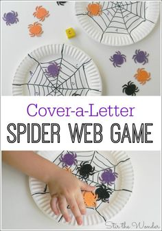 Cover a Letter Spider Web Game is great fun for preschoolers learning to recognize the letters of the alphabet! Could do with shape/color too Halloween Theme Preschool, Halloween Activities For Kids, Theme Halloween, Kids Learning Activities, Halloween Kids, Fun Learning, Preschool Activities, Halloween Crafts, Kid Activites
