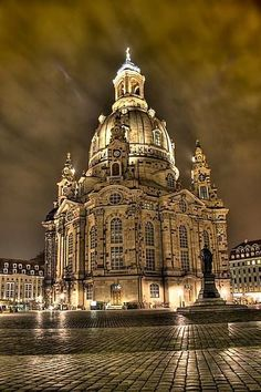 *Dresden Frauenkirche, Germany, bombed in WWII, and rebuilt using as much of the original stones as possible. Link is not helpful, but a really pretty church to see in Dresden! Places Around The World, Oh The Places You'll Go, Places To Travel, Places To Visit, Around The Worlds, Baroque Architecture, Beautiful Architecture, Beautiful Buildings, Sacred Architecture