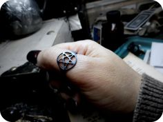 Heathen Pentagram ring. Cast using the lost wax technique in sterling silver. The oldest way of making jewelry. And there are literally only a handful of jewelers left in this world still using this old world way of making jewelry- and I am one of them.  This ring is made to order in your