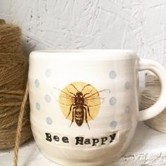 Just listed this sweet Bee Happy handmade ceramic mug in my Etsy shop.