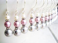 Bridesmaid earrings, Sterling silver, Swarovski pearls stacked, Wedding Jewelry, Bridal party gift, Dangel drop, White Pink Grey Ivory Black. $16.75, via Etsy.
