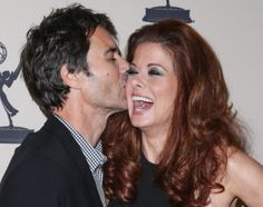 """NORTH HOLLYWOOD, CA - OCTOBER 07:  Actors Eric Mccormack (L) and Debra Messing arrive at """"An Evening Honoring James Burrows"""" at Academy of T..."""