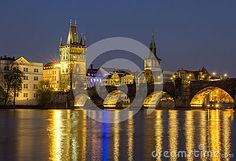 Prague, Czech Republic View at The Charles Bridge and Vltava river in Prague in dusk .