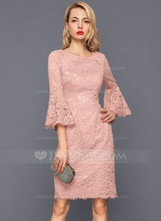 <img> Sheath/Column Scoop Neck Knee-Length Zipper Up Sleeves Sleeves No Dusty Rose Winter Spring Summer Fall General Plus Lace US 2 / UK 6 / EU 32 Cocktail Dress - Wedding Party Dresses, Bridal Dresses, Prom Dresses, Chiffon Dresses, Bridesmaid Gowns, Belted Dress, Bodycon Dress, Dress Brokat, Ribbed Knit Dress