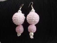 orecchini uncinetto cotone pendenti sfere perle, by maglieria magica, 8,50 € su misshobby.com